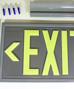 ft Gray Polycarbonate EXIT Sign Single Sided with Gray Frame Wall Bracket and FlagCeiling Mount incl Chevrons BHLPWYZ