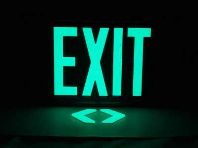 Elasco Glow in the Dark EXIT Sign 100ft Grey with Mounting Bracket