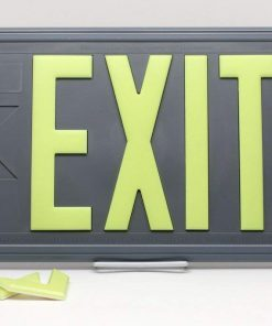 ft Gray Polycarbonate EXIT Sign Single Sided with Gray Frame Wall Bracket incl Chevrons BHLLN