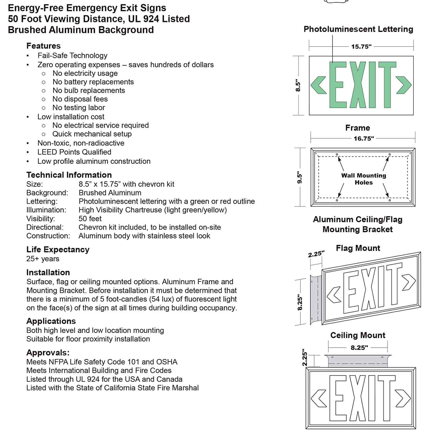 Glo UL 924 Listed Exit Sign 75 Viewing Distance Double Sided with Bracket