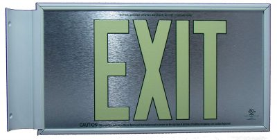 ft Brushed Aluminum Green Trapping EXIT Sign Double Sided with White Frame and White CeilingFlag Mount Bracket incl BHLKDQ
