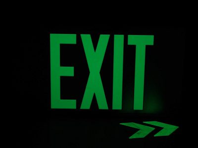 ft Brushed Aluminum Green Trapping EXIT Sign Single Sided with No Frame Sign Only incl Chevrons BHLWFYTK