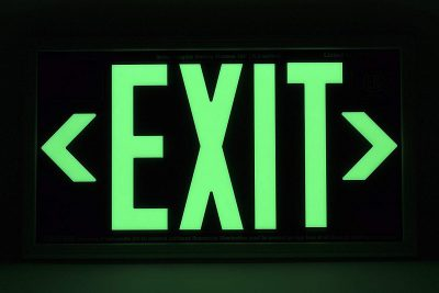 ft Brushed Aluminum Green Trapping EXIT Sign Single Sided with Silver Frame for Wall Mount incl Chevrons BHLQXT