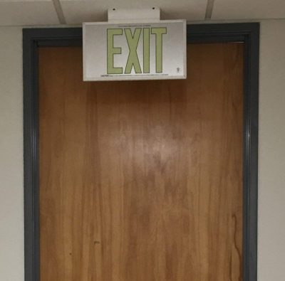 ft Brushed Aluminum Green Trapping EXIT Sign Single Sided with White Frame and White CeilingFlag Mount Bracket incl BHLLJF