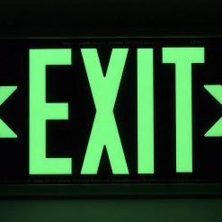 ft Brushed Aluminum Green Trapping EXIT Sign Single Sided with White Frame for Wall Mount incl Chevrons BHLKCYVM