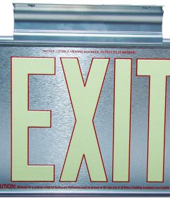 ft Brushed Aluminum Red Trapping EXIT Sign Double Sided with Silver Frame and Silver CeilingFlag Mount Bracket incl BHLMZCC