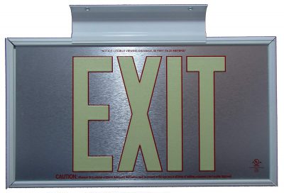 ft Brushed Aluminum Red Trapping EXIT Sign Double Sided with White Frame and White CeilingFlag Mount Bracket incl C BHLMDRG