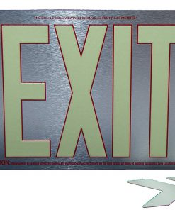 ft Brushed Aluminum Red Trapping EXIT Sign Single Sided with No Frame Sign Only incl Chevrons BHLNPHN