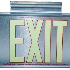 ft Brushed Aluminum Red Trapping EXIT Sign Single Sided with Silver Frame and Silver CeilingFlag Mount Bracket incl BHLMYJ