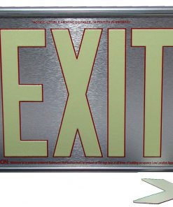 ft Brushed Aluminum Red Trapping EXIT Sign Single Sided with Silver Frame for Wall Mount incl Chevrons BHLKHPF