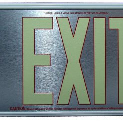 ft Brushed Aluminum Red Trapping EXIT Sign Single Sided with White Frame and White CeilingFlag Mount Bracket incl C BHLPWHM
