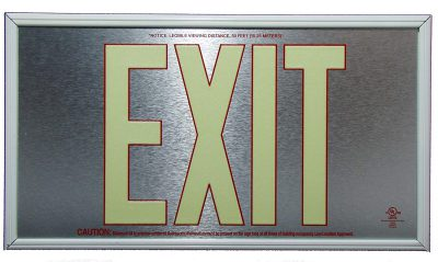 ft Brushed Aluminum Red Trapping EXIT Sign Single Sided with White Frame for Wall Mount incl Chevrons BHLVSYL