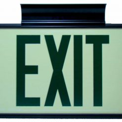 ft Green Lettering EXIT Sign Double Sided with Black Frame and Black CeilingFlag Mount Bracket incl Chevrons BHLKHRKT