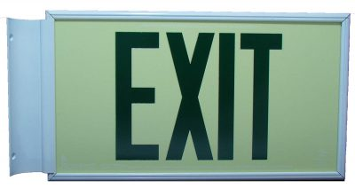 ft Green Lettering EXIT Sign Double Sided with White Frame and White CeilingFlag Mount Bracket incl Chevrons BHLLYLNL