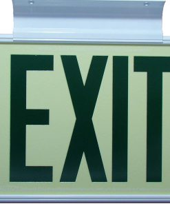 ft Green Lettering EXIT Sign Single Sided with White Frame and White CeilingFlag Mount Bracket incl Chevrons BHLKHNFF
