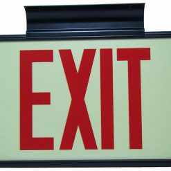 ft Red Lettering EXIT Sign Double Sided with Black Frame and Black CeilingFlag Mount Bracket incl Chevrons BHLQXTC