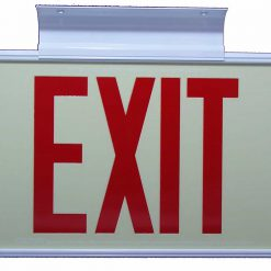 ft Red Lettering EXIT Sign Double Sided with White Frame and White CeilingFlag Mount Bracket incl Chevrons BHLKHYMS