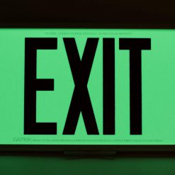 ft Red Lettering EXIT Sign Single Sided with White Frame and White CeilingFlag Mount Bracket incl Chevrons BHLRPBP
