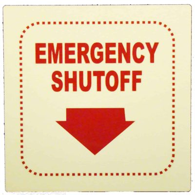 Emergency ShutOff   Square Glow in The Dark Emergency Fire Safety Sign BHQBHKK