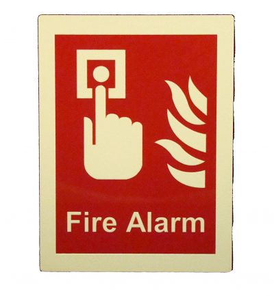 Fire Alarm Wording with Button Flames   Glow in The Dark Border Emergency Fire Safety Sign BHQPF