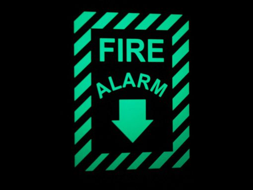 Cable Protector Works Elasco Products FIRE EXIT Sign Glow Photo luminescent