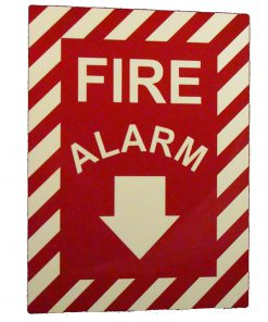 Fire Alarm with Down Arrow   Emergency Fire Safety Sign BHQDPWWY