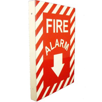 Fire Alarm with Down Arrow Double Sided Side Mount Flap   Emergency Fire Safety Sign BHQMDMSC