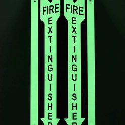 Fire Extinguisher Safety Sign V Style Green Glow in The Dark Photoluminescent Fire Extinguisher Aluminum Vis BBJMRQ
