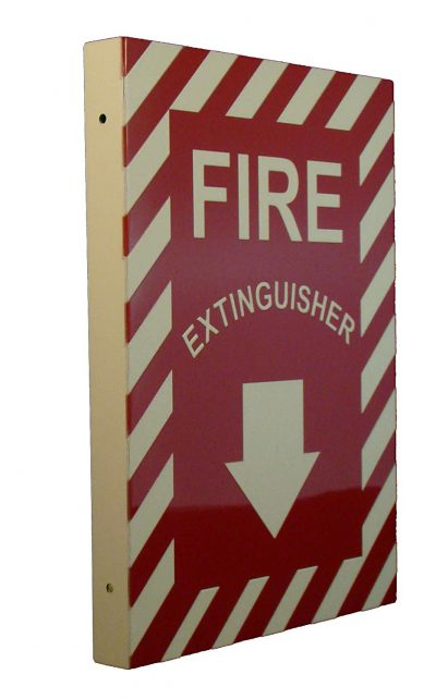 Fire Extinguisher with Down Arrow Double Sided Side Mount Flap   Emergency Fire Safety Sign BHQJNHM