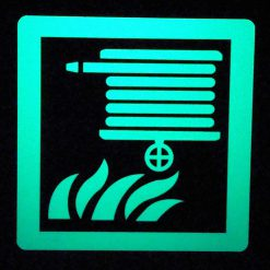 Fire Hose Reel   Square Glow in The Dark Border Emergency Fire Safety Sign BHQZHBG
