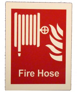 Fire Hose Reel with Wording   Glow in The Dark Border Emergency Fire Safety Sign BHQGGHR