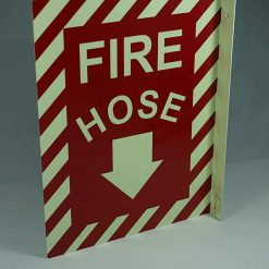 Fire Hose with Down Arrow Double Sided Side Mount Flap   Emergency Fire Safety Sign BHQGMZM