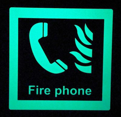 Fire Phone   Square Glow in The Dark Border Emergency Fire Safety Sign BHQGHRSY