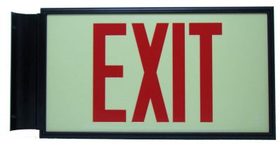 Glow in The Dark Emergency EXIT Signs Non Electric UL Listed Industrial Grade Photo Luminescent  Feet Red Black BHLKDKB
