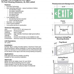 Glow in The Dark Emergency EXIT Signs Non Electric UL Listed Industrial Grade Photo Luminescent No Frame  Feet G BHLPSPV