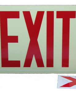 Glow in The Dark Emergency EXIT Signs Non Electric UL Listed Industrial Grade Photo Luminescent No Frame  Feet R BHLPHHM