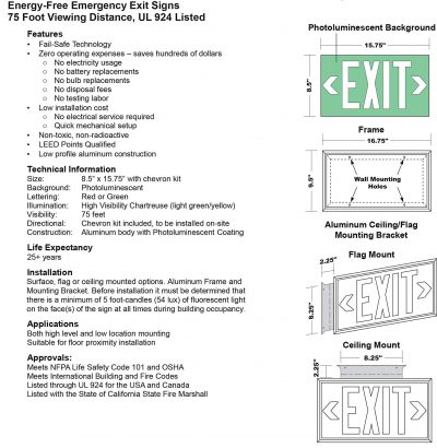 Glow in The Dark Emergency EXIT Signs Non Electric UL Listed Industrial Grade Photo Luminescent White Frame  Fee BHLLT