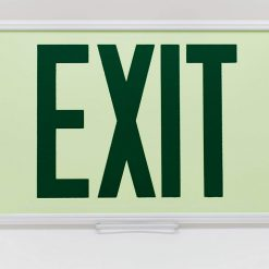 Glow in The Dark Emergency EXIT Signs Non Electric UL Listed Industrial Grade Photo Luminescent White Frame  Fee BHLMCSZ