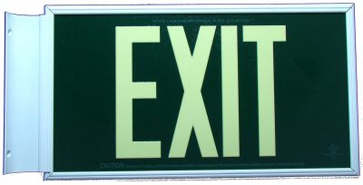 Glow in The Dark Emergency EXIT Signs Non Electric UL Listed Industrial Grade PhotoLuminescent Green  Feet G BHLLSDF