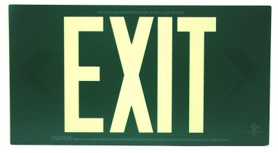 Glow in The Dark Emergency EXIT Signs Non Electric UL Listed Industrial Grade PhotoLuminescent Green  Feet G BHLMLH