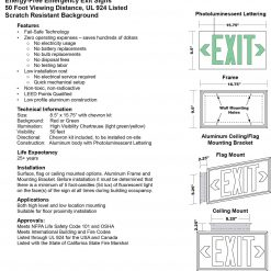 Glow in The Dark Emergency EXIT Signs Non Electric UL Listed Industrial Grade PhotoLuminescent Green  Feet G BHLNGSZ