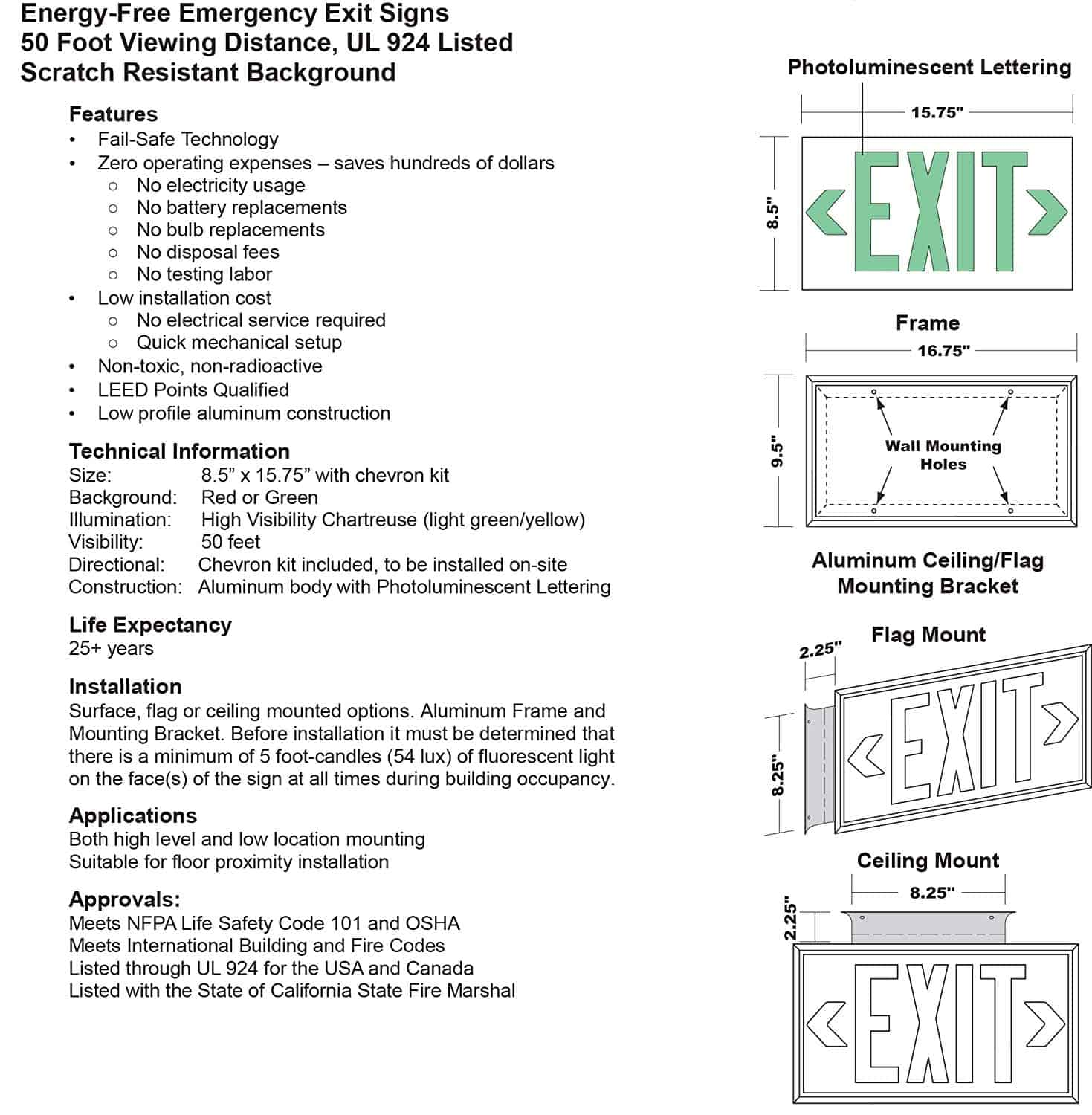 EXIT Sign  Green, 50 Feet, Single Sided with Black Frame & no Mount  (50G-SB-) - Cable Protectors