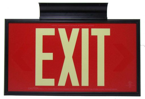 Glow in The Dark Emergency EXIT Signs Non Electric UL Listed Industrial Grade PhotoLuminescent Red  Feet R DB BHLJRZ