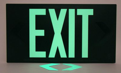 Glow in The Dark Emergency EXIT Signs Non Electric UL Listed Industrial Grade PhotoLuminescent Red  Feet R DW BHLKDPC