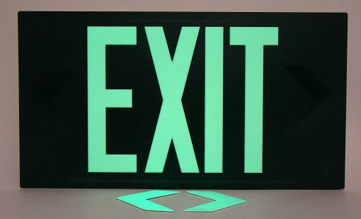 Glow in The Dark Emergency EXIT Signs Non Electric UL Listed Industrial Grade PhotoLuminescent Red  Feet R SB BHLMGVG