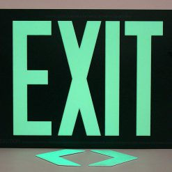 Glow in The Dark Emergency EXIT Signs Non Electric UL Listed Industrial Grade PhotoLuminescent Red  Feet R SW BHLPZWV