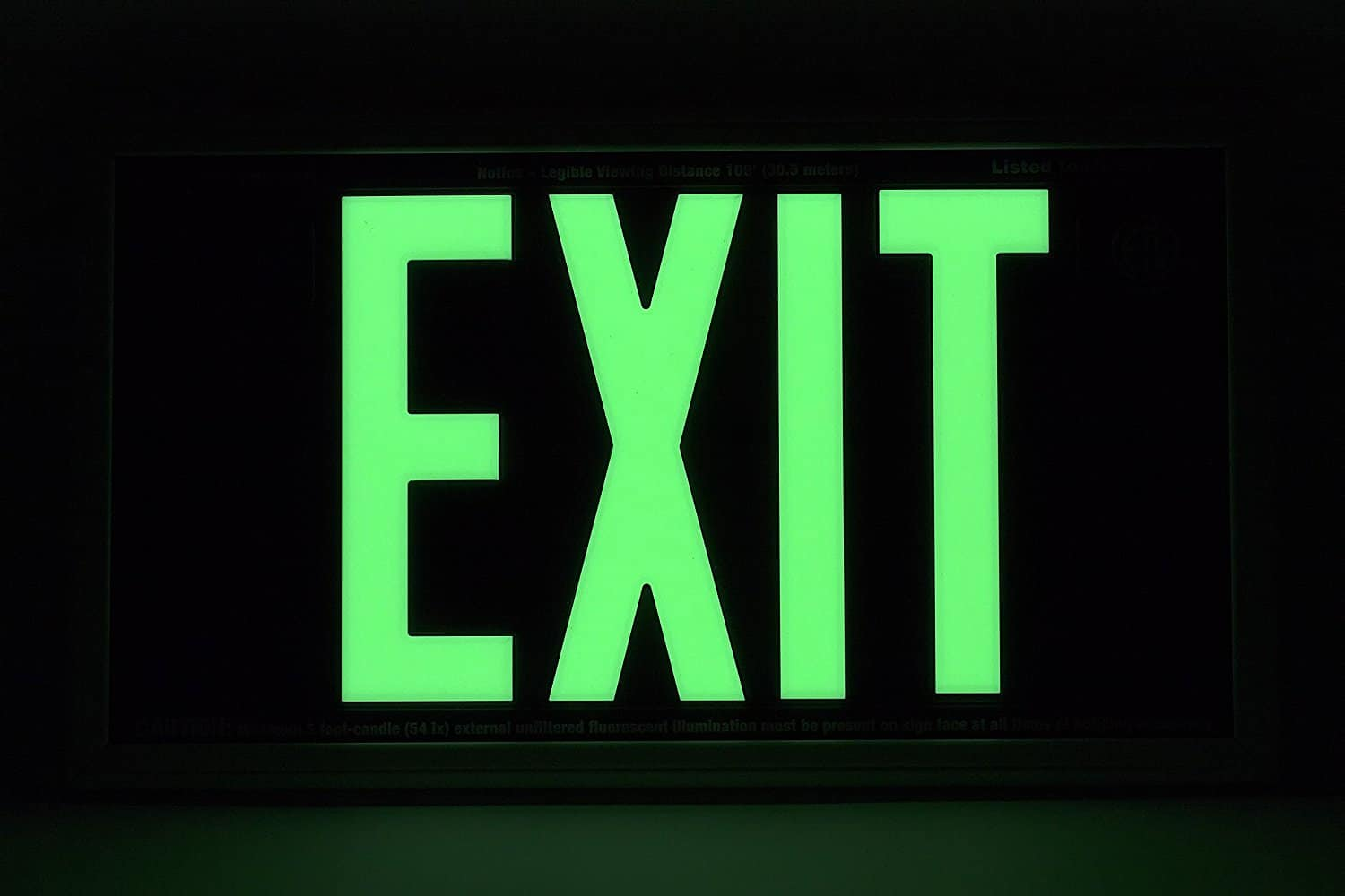 Glow in the Dark Emergency Exit salida Signs Various Color Faces  Foot Viewing Distance Elasco Photoluminescent UL BBFTRYP