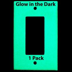 Glow in the Dark Safety  Gang Wall Cover Plate White Plastic Standard Size for Single Rocker SwitchDecoraGFCI Dev BCSJKW