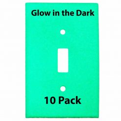 Glow in the Dark Safety  Gang Wall Cover Plate White Plastic Standard Size for Single Toggle Light Switch  Pack BCWB