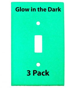 Glow in the Dark Safety  Gang Wall Cover Plate White Plastic Standard Size for Single Toggle Light Switch  Pack BDQGTJ
